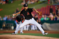 Kane County Cougars starting pitcher Jeff Bain (23) delivers a pitch during a game against the South Bend Cubs on July 21, 2018 at Northwestern Medicine Field in Geneva, Illinois.  South Bend defeated Kane County 4-2.  (Mike Janes/Four Seam Images)