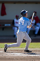Chad Flack (34) of the North Carolina Tar Heels follows through on his swing versus the St. John's Red Storm at the 2008 Coca-Cola Classic at the Winthrop Ballpark in Rock Hill, SC, Sunday, March 2, 2008.