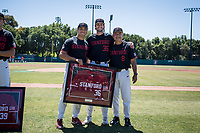 STANFORD, CA - MAY 29: Senior Jonathan Worley, David Esquer, Vincent Martinez before a game between Oregon State University and Stanford Baseball at Sunken Diamond on May 29, 2021 in Stanford, California.