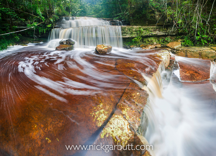 Gulik Falls, edge of southern plateau, Maliau Basin. Sabah's 'Lost World', Borneo (digitally stitched image).