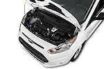 Car Stock 2016 Ford Transit-Connect XLT-LWB 5 Door mini MPV Engine  high angle detail view