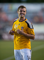 Robbie Rogers (14) of the LA Galaxy warms up during a third round match in the US Open Cup at WakeMed Soccer Park in Cary, NC.  The Carolina Railhawks defeated the LA Galaxy, 2-0.