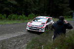 14th September 2012 - Devils Bridge - Mid Wales : WRC Wales Rally GB SS6 Myherin stage : Maciej Oleksowicz (POL) and co driver Andrzej Obrebowski of Poland in their Ford Fiesta S2000.