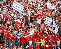 Chicago Fire fans celebrate during the match against Toronto FC.  Chicago Fire defeated Toronto FC by the score of 2-1 at Toyota Park stadium, in Bridgeview, Illinois on Saturday, July 12, 2008.