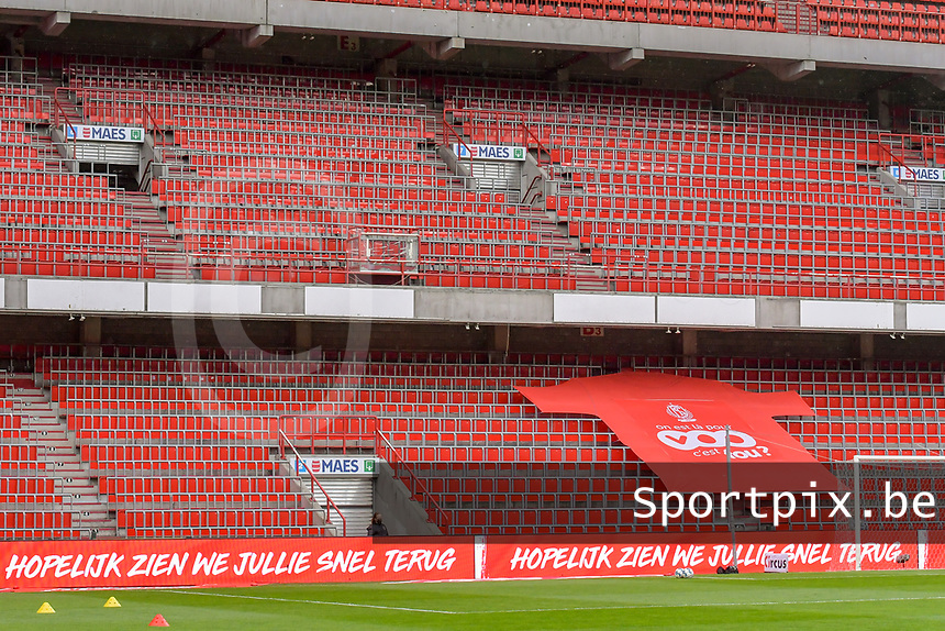 Text beste supporters hopelijk zien we jullie snel terug pictured on the led boarding before a female soccer game between Standard Femina de Liege and AA Gent Ladies on the 6th matchday in play off 1 of the 2020 - 2021 season of Belgian Scooore Womens Super League , tuesday 11 th of May 2021  in Liege , Belgium . PHOTO SPORTPIX.BE | SPP | STIJN AUDOOREN