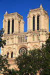 A closed up view of west front of Notre Dame cathedral. city of Paris. Paris. France