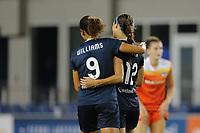 Edinburg, TX - Wednesday September 27, 2017: Lynn Williams, Ashley Hatch during a regular season National Women's Soccer League (NWSL) match between the Houston Dash and the North Carolina Courage at H-E-B Park.