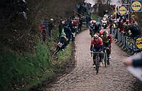 breakaway group over the Oude Kwaremont<br /> <br /> 102nd Ronde van Vlaanderen 2018 (1.UWT)<br /> Antwerpen - Oudenaarde (BEL): 265km