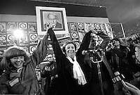 November 15 1976 File photo - Montreal (Qc) CANADA - Lise Payette (M), Doris Lussier and other Candidates of the Parti Quebecois celebrate the 1976 victory with the party leader Rene Levesque , November 15 1976 at Centre Paul Sauve.