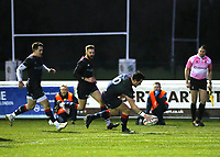 Jake Sharp of London Scottish scores a try during the Greene King IPA Championship match between London Scottish Football Club and Bedford Blues at Richmond Athletic Ground, Richmond, United Kingdom on 23 December 2017. Photo by Mark Kerton / PRiME Media Images.