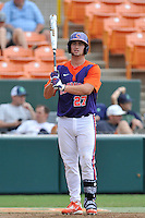 Sophomore catcher Chris Williams (27) of the Clemson Tigers in a fall practice intra-squad Orange-Purple scrimmage on Saturday, September 26, 2015, at Doug Kingsmore Stadium in Clemson, South Carolina. (Tom Priddy/Four Seam Images)