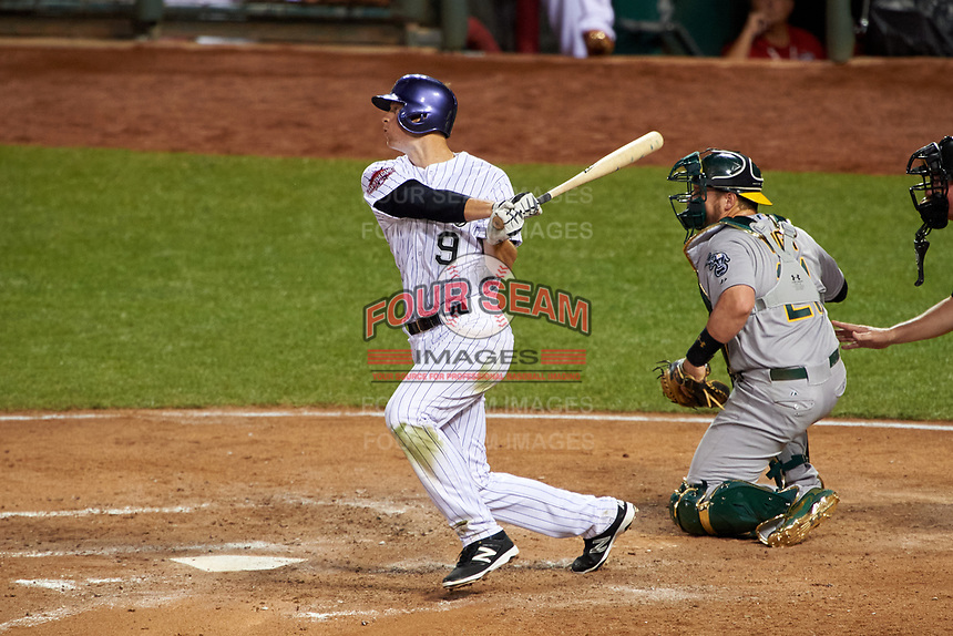 Colorado Rockies DJ LeMahieu bats during the MLB All-Star Game on July 14, 2015 at Great American Ball Park in Cincinnati, Ohio.  (Mike Janes/Four Seam Images)