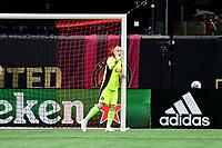 ATLANTA, GA - APRIL 24: Atlanta United goalkeeper #1 Brad Guzan directs his defense during a game between Chicago Fire FC and Atlanta United FC at Mercedes-Benz Stadium on April 24, 2021 in Atlanta, Georgia.