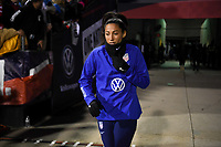 COLUMBUS, OH - NOVEMBER 07: Christen Press #23 walks out to warm up during a game between Sweden and USWNT at MAPFRE Stadium on November 07, 2019 in Columbus, Ohio.