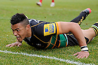 Luther Burrell of Northampton Saints touches down for a try during the Aviva Premiership match between London Welsh and Northampton Saints at the Kassam Stadium on Sunday 14th April 2013 (Photo by Rob Munro)