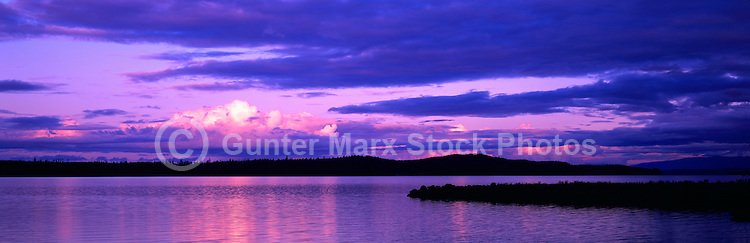 West Coast, Vancouver Island, BC, British Columbia, Canada - Sunset over Pacific Ocean near Tofino and Ucluelet, Panoramic View