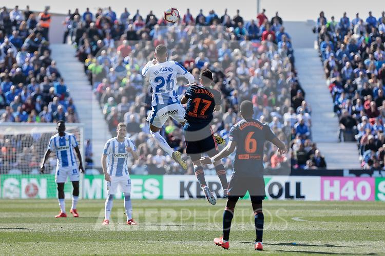 CD Leganes's Youssef En-Nesyri and Valencia CF' Francis Coquelin during La Liga match, Round 25 between CD Leganes and Valencia CF at Butarque Stadium in Leganes, Spain. February 24, 2019. (ALTERPHOTOS/A. Perez Meca)