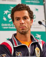 12-09-12, Netherlands, Amsterdam, Tennis, Daviscup Netherlands-Swiss, Press-conference Netherlands, Jean-Julien Rojer.