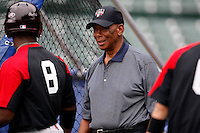August 8, 2009:  Hall of Fame member Ernie Banks talks with Under Armour All-America team members at Wrigley Field in Chicago, IL.  Photo By Mike Janes/Four Seam Images