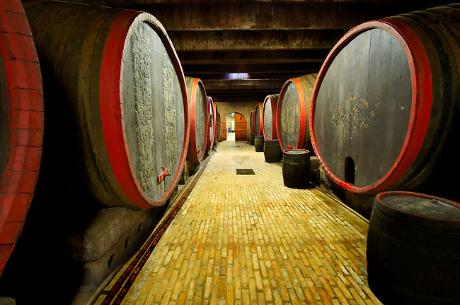 Kovacs wine cellars' wine barrels and bottles  ( Kovács Borház ) Hajos ( Hajós); Hungary;