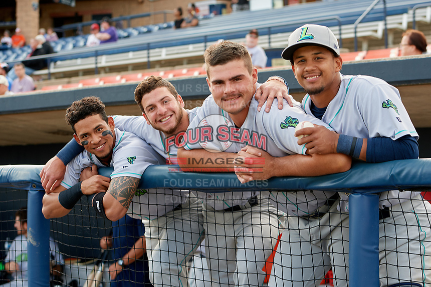 Lynchburg Hillcats (L-R) Jorma Rodriguez (9), Alexis Pantoja (6), Anthony Miller (40), and Angel Lopez Alvarez (20) before the second game of a doubleheader against the Frederick Keys on June 12, 2018 at Nymeo Field at Harry Grove Stadium in Frederick, Maryland.  Frederick defeated Lynchburg 8-1.  (Mike Janes/Four Seam Images)