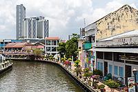 Melaka River and Riverwalk, Melaka, Malaysia.