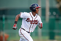 GCL Braves third baseman Darling Florentino (22) runs to first base during the first game of a doubleheader against the GCL Yankees West on July 30, 2018 at Champion Stadium in Kissimmee, Florida.  GCL Yankees West defeated GCL Braves 7-5.  (Mike Janes/Four Seam Images)