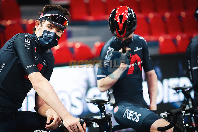 Luke Rowe (WAL) Ineos Grenadiers at the team presentation before the 2021 Flèche-Wallonne, running 193.6km from Charleroi to Huy, Belgium. 21st April 2021.  <br /> Picture: A.S.O./Aurélien Vialatte | Cyclefile<br /> <br /> All photos usage must carry mandatory copyright credit (© Cyclefile | A.S.O./Aurélien Vialatte)