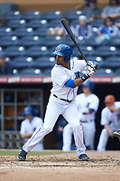 Micah Johnson (3) of the Durham Bulls at bat against the Buffalo Bison at Durham Bulls Athletic Park on April 25, 2018 in Allentown, Pennsylvania.  The Bison defeated the Bulls 5-2.  (Brian Westerholt/Four Seam Images)