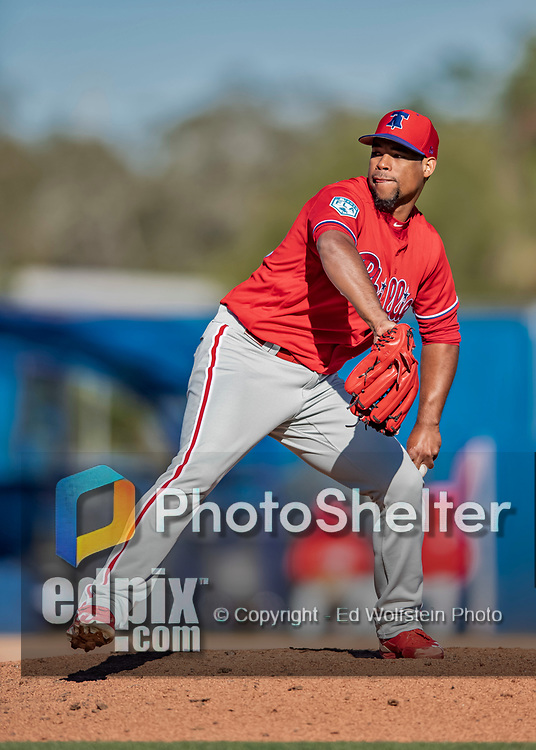 6 March 2019: Philadelphia Phillies pitcher Edward Paredes on the mound during a Spring Training game against the Toronto Blue Jays at Dunedin Stadium in Dunedin, Florida. The Blue Jays defeated the Phillies 9-7 in Grapefruit League play. Mandatory Credit: Ed Wolfstein Photo *** RAW (NEF) Image File Available ***