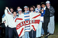 Fans of Barking Football Club are seen at the Essex Senior Cup Final replay against Southend United, played at Dagenham FC - 18/04/90 - MANDATORY CREDIT: Gavin Ellis/TGSPHOTO - Self billing applies where appropriate - Tel: 0845 094 6026