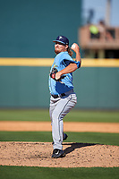 Tampa Bay Rays relief pitcher Ryne Stanek (62) delivers a pitch during a Spring Training game against the Pittsburgh Pirates on March 10, 2017 at LECOM Park in Bradenton, Florida.  Pittsburgh defeated New York 4-1.  (Mike Janes/Four Seam Images)