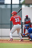Philadelphia Phillies first baseman Quincy Nieporte (33) at bat during an Instructional League game against the Toronto Blue Jays on September 30, 2017 at the Carpenter Complex in Clearwater, Florida.  (Mike Janes/Four Seam Images)