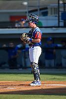 Burlington Royals catcher Zane Evans (17) on defense against the Bluefield Blue Jays at Burlington Athletic Stadium on June 26, 2016 in Burlington, North Carolina.  The Blue Jays defeated the Royals 4-3.  (Brian Westerholt/Four Seam Images)