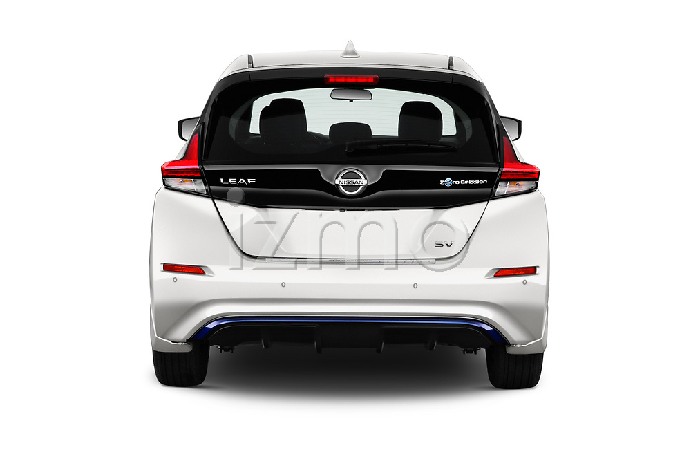 Straight rear view of 2020 Nissan Leaf SV 5 Door Hatchback Rear View  stock images