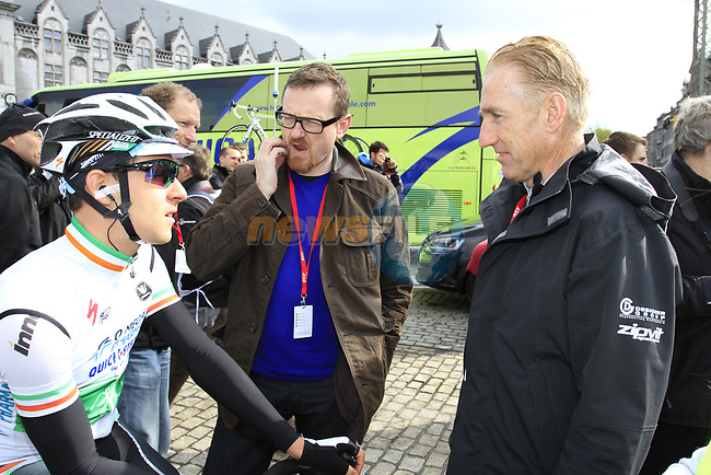 Irish National Champion Matt Brammeier (IRL) Omega Pharma-Quick Step chats to cycling legend and Eurosport TV commentator Sean Kelly (IRL) at sign on before the start of the 98th edition of Liege-Bastogne-Liege outside the Palais des Princes-Eveques, running 257.5km from Liege to Ans, Belgium. 22nd April 2012.  <br /> (Photo by Eoin Clarke/NEWSFILE).