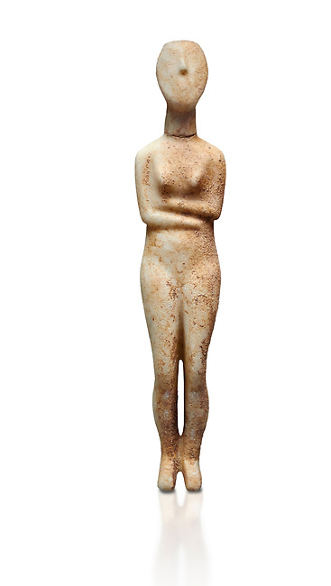 Marble female Cycladic statue figurine with folded arms of the Spedos type. Early Cycladic Period II (2800-2300 BC) from Stavros cemetery, Amorgos, grave 5, Cat No 4719. National Archaeological Museum, Athens.   White background.<br /> <br /> <br /> This Cycladic statue figurine is of the Spedos type standing on tip tie with bended knees and arms folded under the breasts with head raiised.