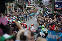 Peloton led by Team Astana in the 1st of the 8 final local laps around Torino<br /> <br /> stage 21: Cuneo - Torino 163km<br /> 99th Giro d'Italia 2016