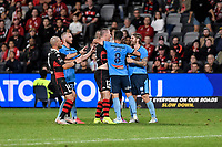 1st May 2021; Bankwest Stadium, Parramatta, New South Wales, Australia; A League Football, Western Sydney Wanderers versus Sydney FC; Mitch Duke of Western Sydney Wanderers and Luke Brattan of Sydney have to be separated by Paulo Retre of Sydney