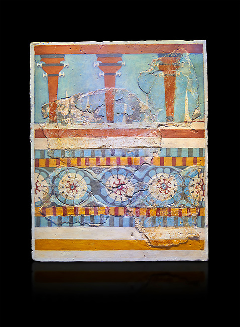 "The Minoan ""Three columned Shrine"" minture fresco Knossos-Palace, 1700-1450 BC . Heraklion Archaeological Museum. black background<br /> <br /> The freco depicts a portico with columns on which double axes are fixed, separated by horns of consecration, on a balustrade decorated with rosettes"