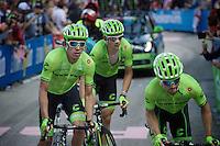 Rigoberto Uran (COL/Cannondale) is escorted up the very steep Fai Della Paganella climb (15%) by teammates, but will lose more then 5 minutes (and even a spot in the GC top 10) on his competitors <br /> <br /> stage 16: Bressanone/Brixen - Andalo 132km<br /> 99th Giro d'Italia 2016