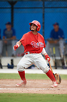 Philadelphia Phillies catcher Rodolfo Duran (10) follows through on a swing during an Instructional League game against the Toronto Blue Jays on October 7, 2017 at the Englebert Complex in Dunedin, Florida.  (Mike Janes/Four Seam Images)