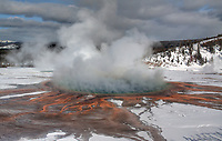 The colorful Grand Prismatic Spring during winter at Yellowstone National Park, Wyoming