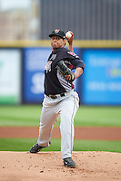 Wisconsin Timber Rattlers pitcher Angel Ventura (38) delivers a pitch during the first game of a doubleheader against the Quad Cities River Bandits on August 19, 2015 at Modern Woodmen Park in Davenport, Iowa.  Quad Cities defeated Wisconsin 3-2.  (Mike Janes/Four Seam Images)