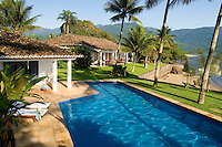 Private home in Parati Brazil. Veiw of the main house, the graden and private beach.