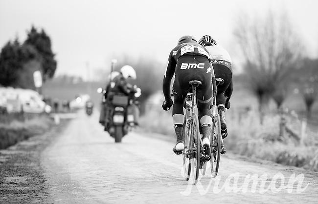 Final breakaway with eventual winner & follow-up Jos Van Emden (NED/Team Lotto NL-Jumbo) & Silvan Dillier (SUI/BMC Racing Team)<br /> <br /> 1st Dwars door West-Vlaanderen 2017 (1.1)