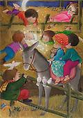 Interlitho, Soledad, CHRISTMAS CHILDREN, naive, paintings, kids, donkey, stable(KL2164/2,#XK#) Weihnachten, Navidad, illustrations, pinturas
