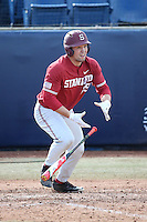 Brandon Wulff #29 of the Stanford Cardinal bats against the Cal State Fullerton Titans at Goodwin Field on February 19, 2017 in Fullerton, California. Stanford defeated Cal State Fullerton, 8-7. (Larry Goren/Four Seam Images)