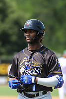 Quad Cities River Bandits outfielder Seuly Matias (26) during a game against the Beloit Snappers on July 18, 2021 at Pohlman Field in Beloit, Wisconsin.  (Brad Krause/Four Seam Images)