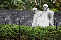 Korean War Memorial,  by Sculptor Frank Gaylord, Washington, DC, USA. Mural Wall designed by Louis Nelson in background.